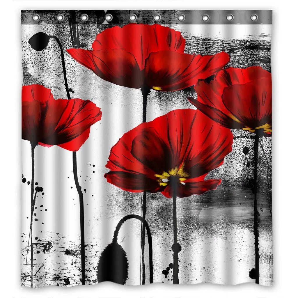 gckg vintage red poppy flower bathroom shower curtain shower rings included 100 polyester waterproof shower curtain 66x72 inches
