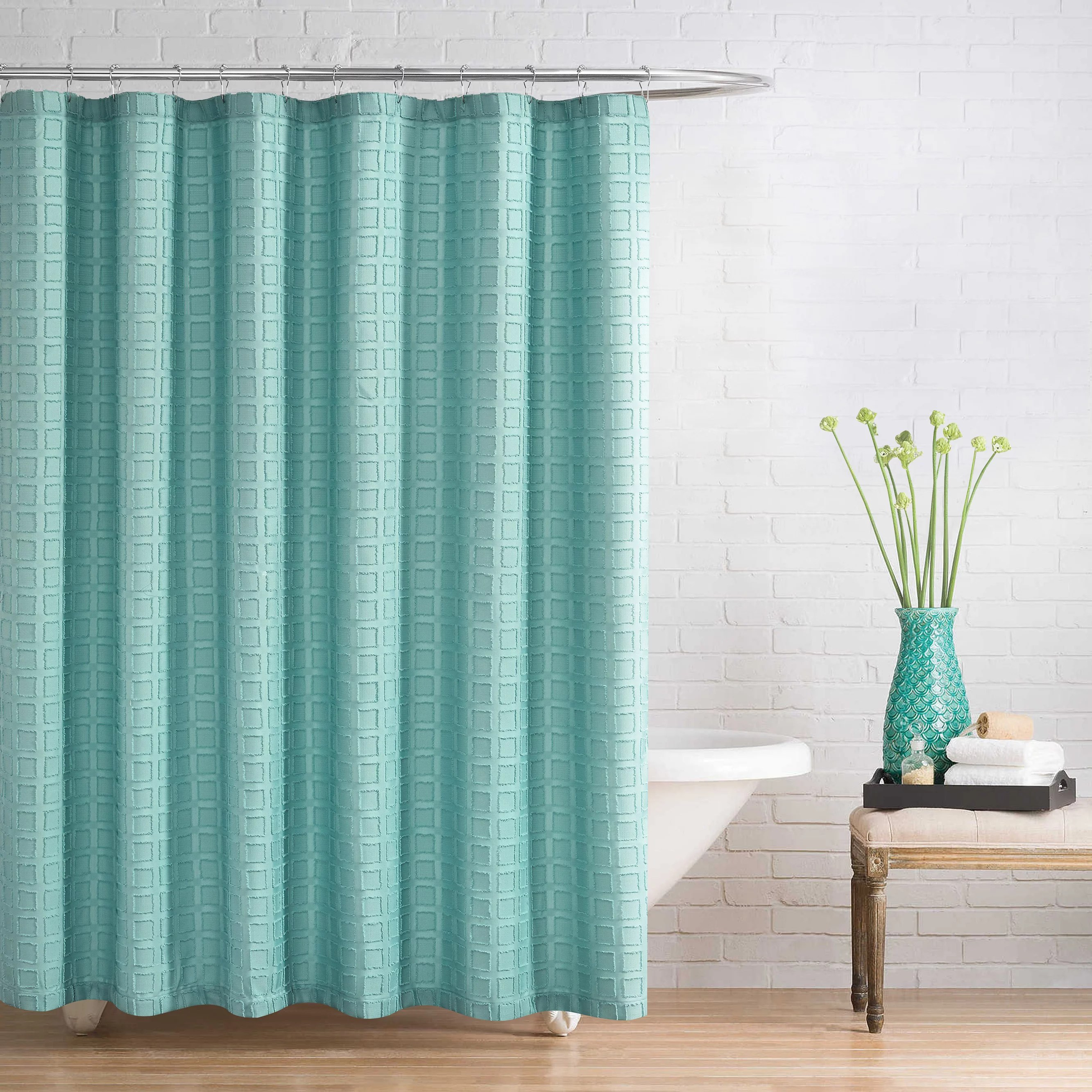 better homes gardens clipped fabric shower curtain in aquifer