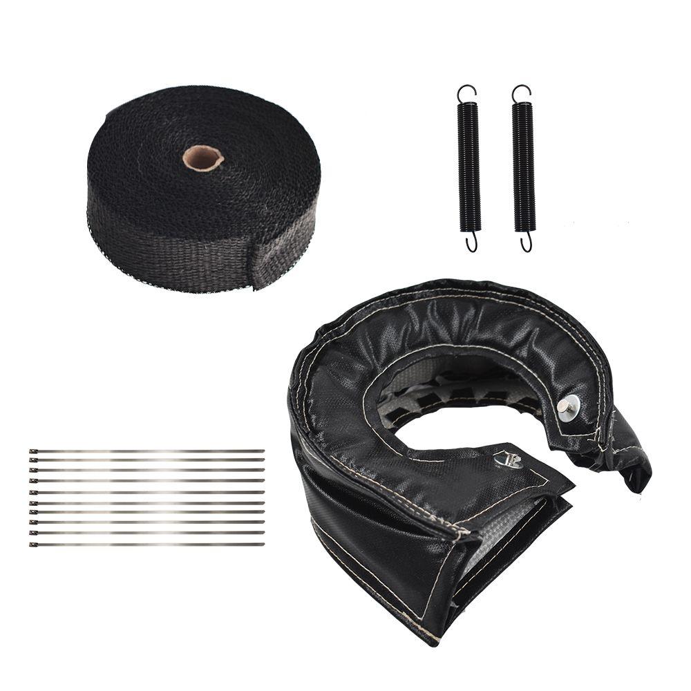 black t6 turbo heat shield blanket cover 2 50ft exhaust header wrap tape