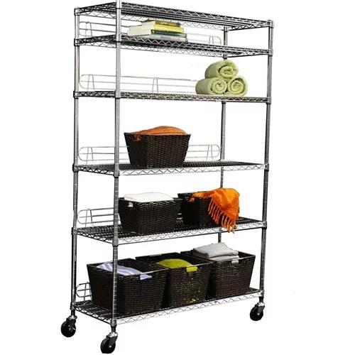 trinity ecostorage 6 tier wire shelving rack with wheels chrome