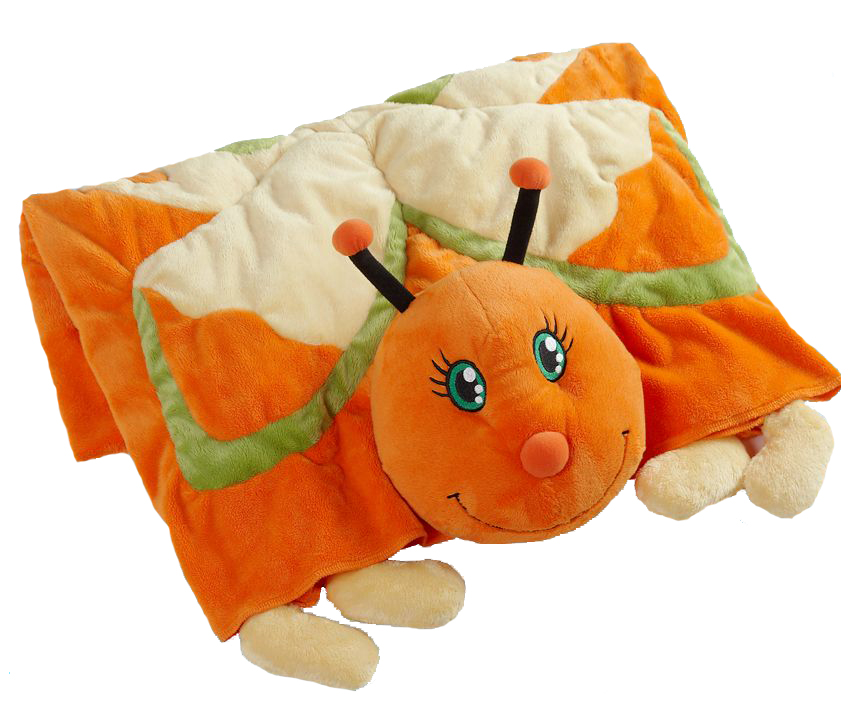 my pillow pets plush blanket orange butterfly