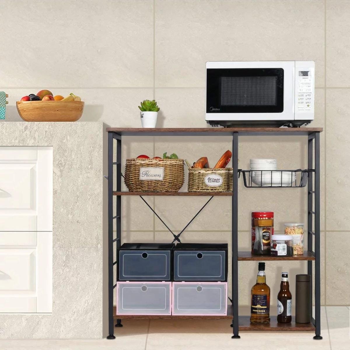 3 tier kitchen bakers rack home storage rack utility microwave oven stand shelf kitchen organizer rack walmart com