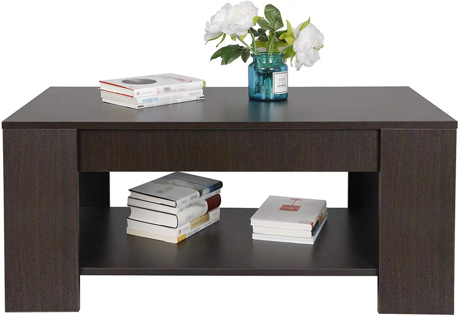 zenstyle lift top coffee table hidden storage cabinet compartment long lasting brown finish