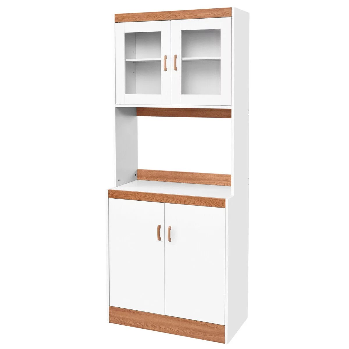 gymax tall microwave cart stand kitchen storage cabinet shelves pantry cupboard white