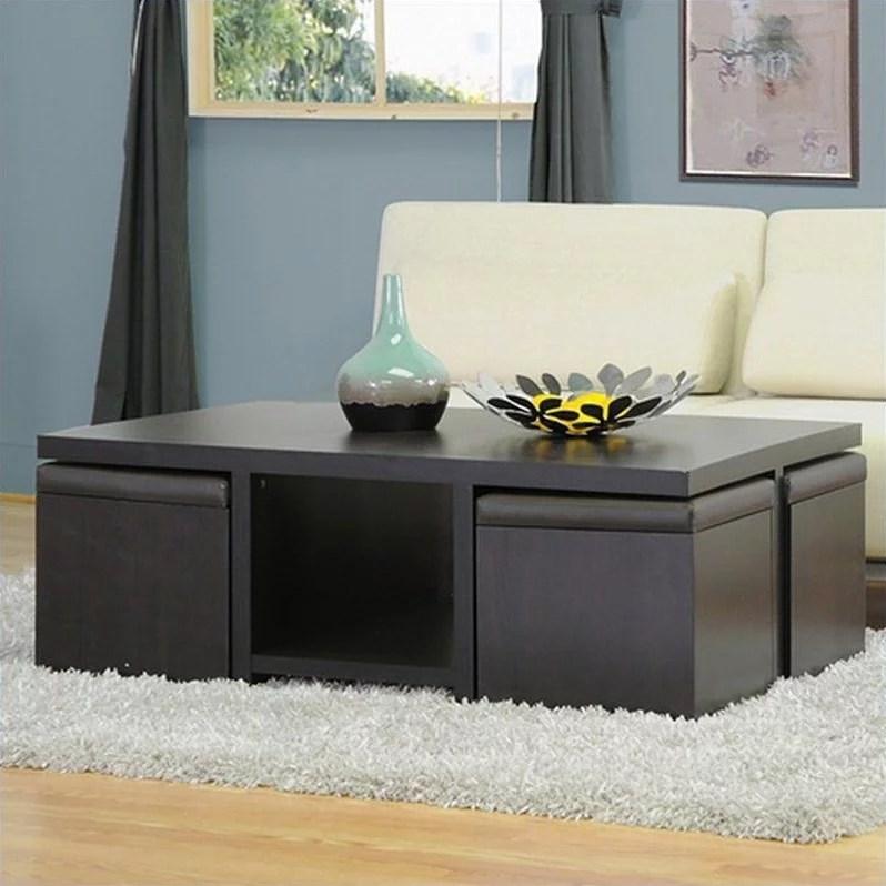 prescott table and stool set with hidden storage in dark brown walmart com