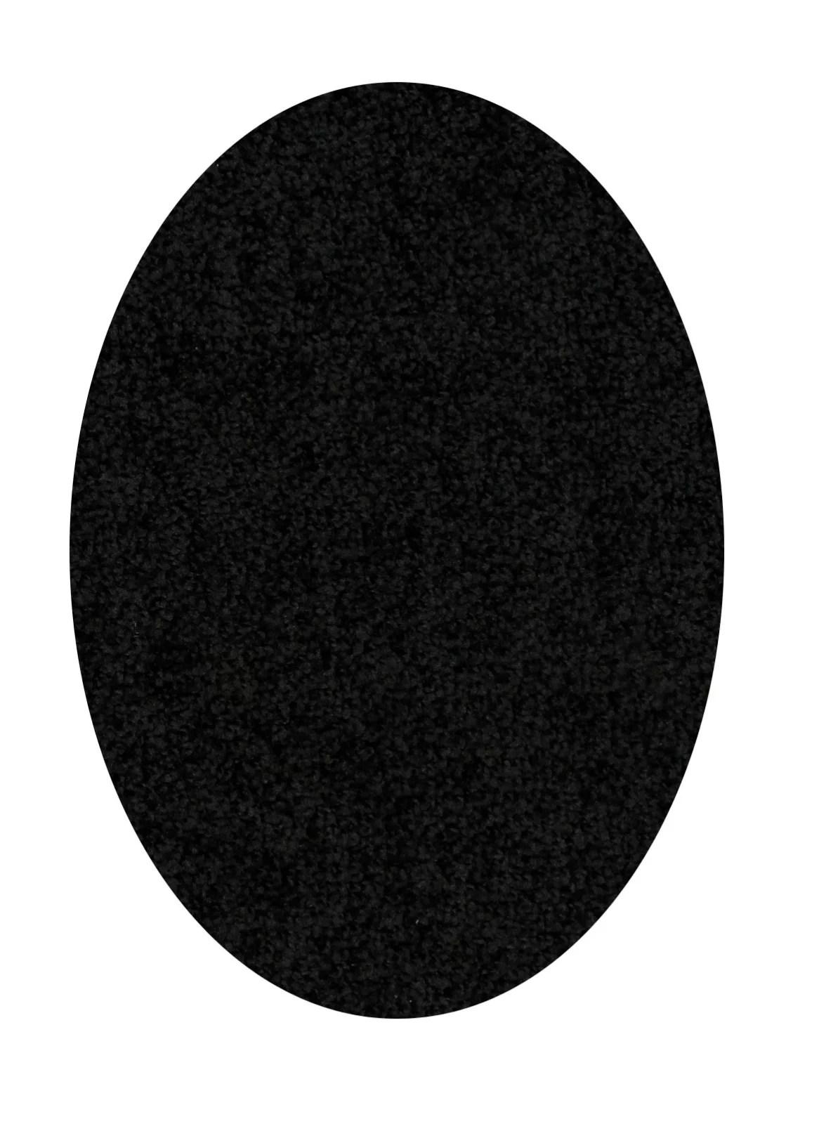 Home Queen Solid Color Oval Shape Black 9 X12 Oval Shape Area Rug Walmart Com Walmart Com