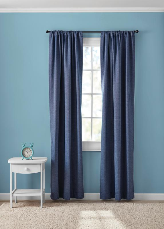 your zone chambray blackout window curtains set of 2 38 x 84 blue