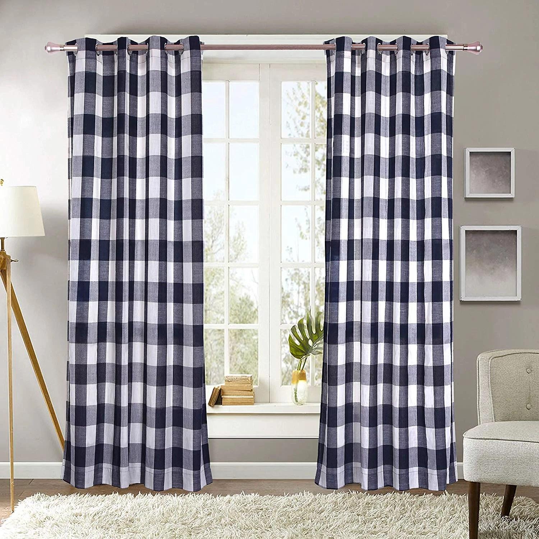 decotex 2 piece plaid courtyard buffalo checkered grommet top window curtain panel drapes 2 panels 53 x 63 navy blue beige