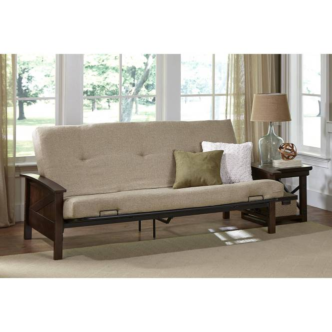 Better Homes And Gardens Paneled Wood Arm Futon With 6 Mattress Brown