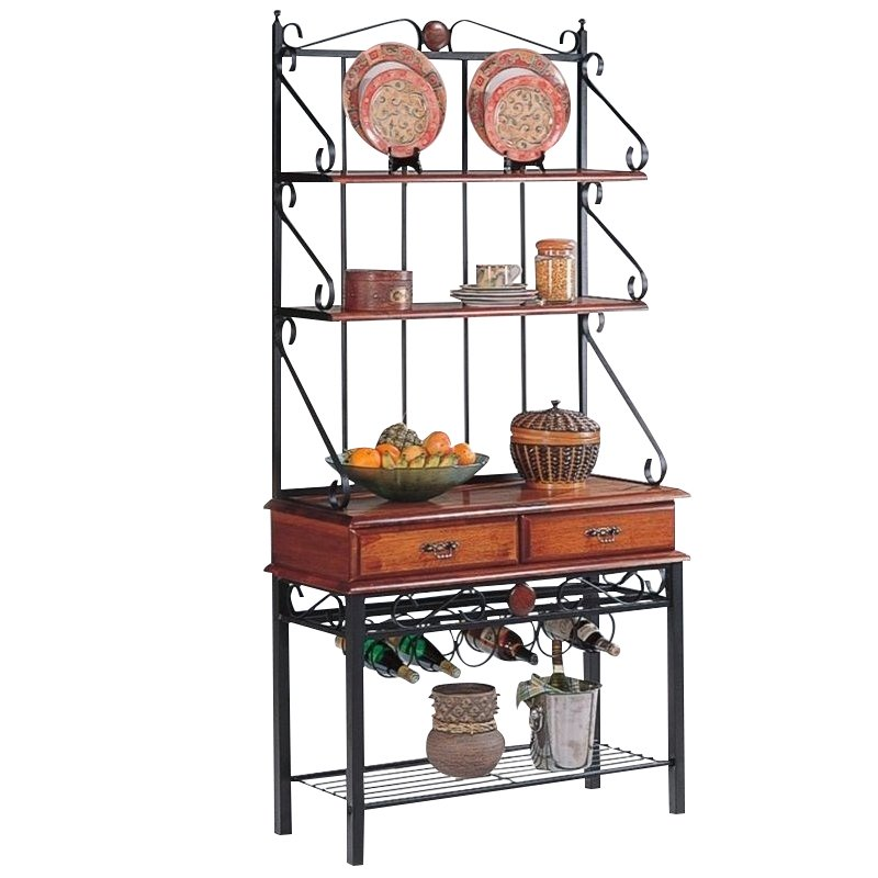 bowery hill 2 drawer bakers rack with wine storage in tobacco