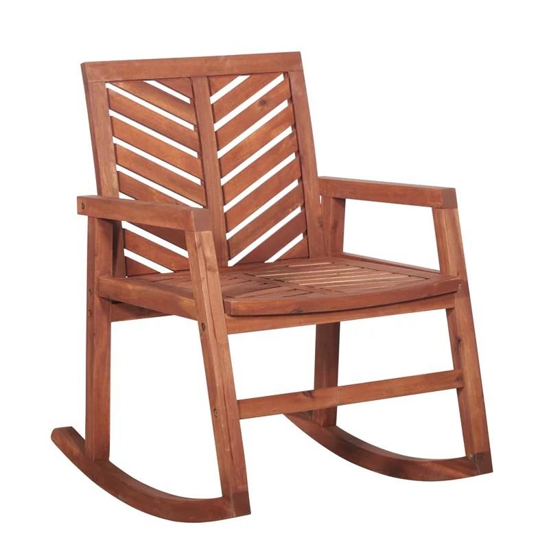 outdoor wood patio chevron rocking chair brown