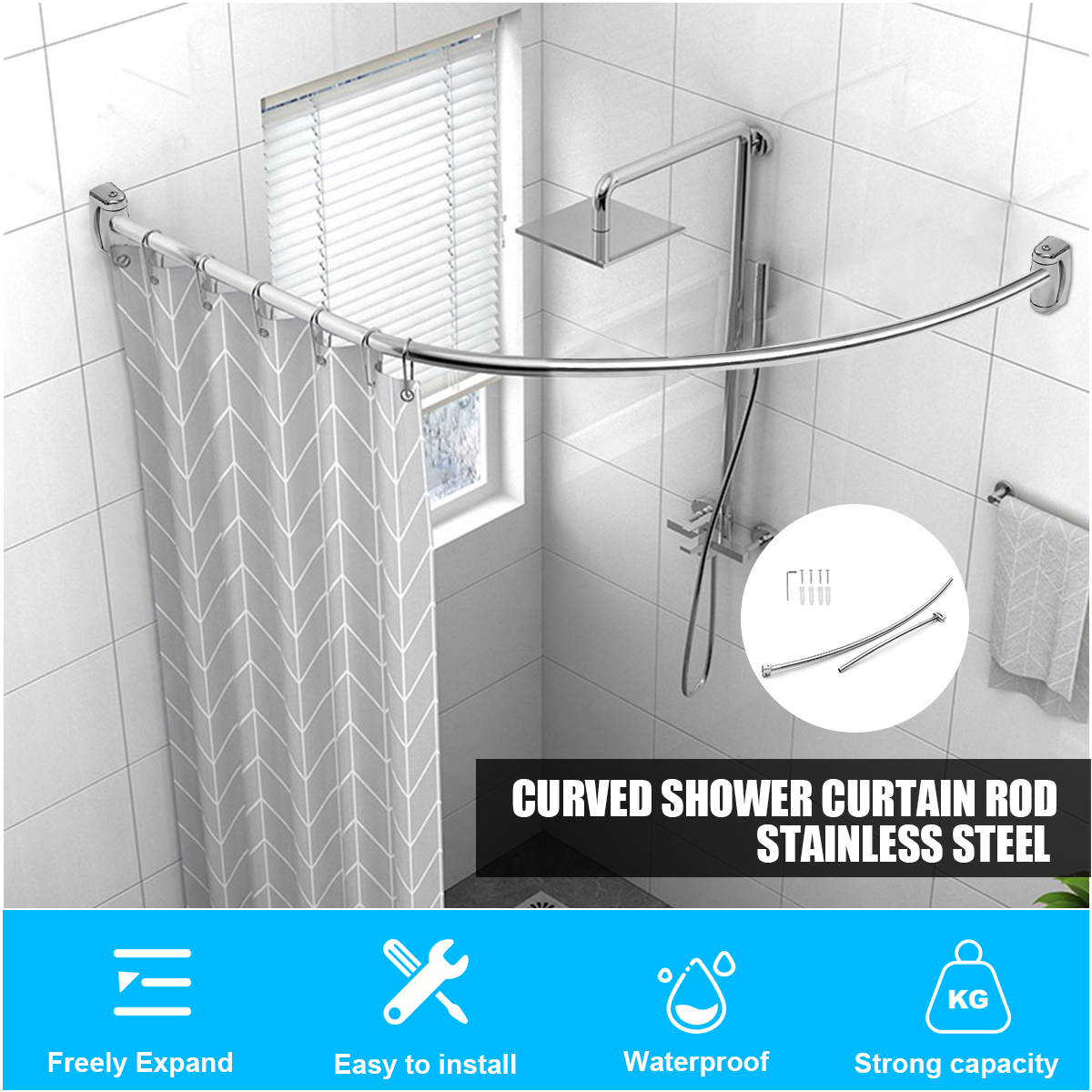 adjustable curved shower curtain rod stainless steel telescopic pole bathroom decor easy to install walmart com