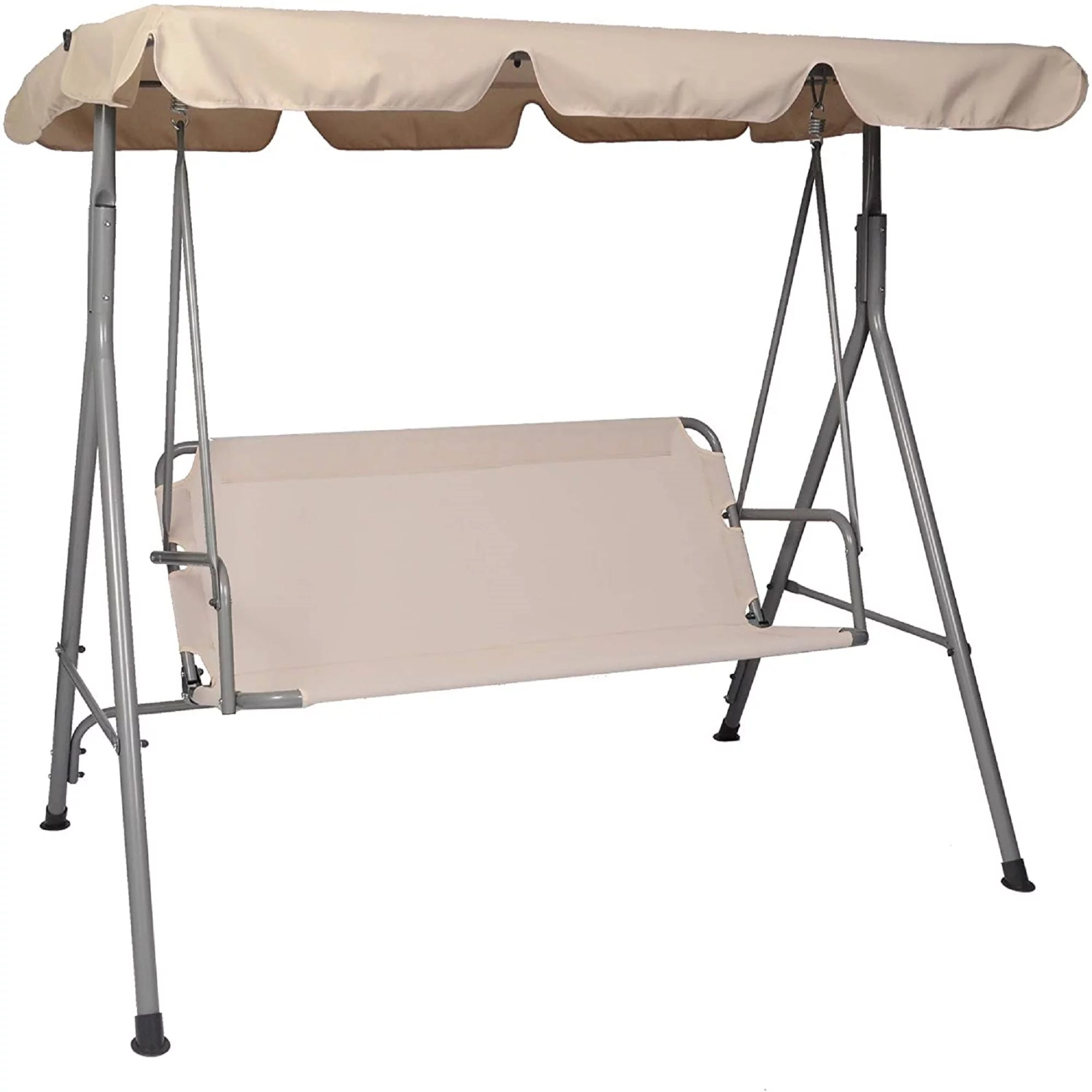 karmas product patio swing 3 person porch swing with stand and waterproof canopy all weather resistant swing bench beige walmart com
