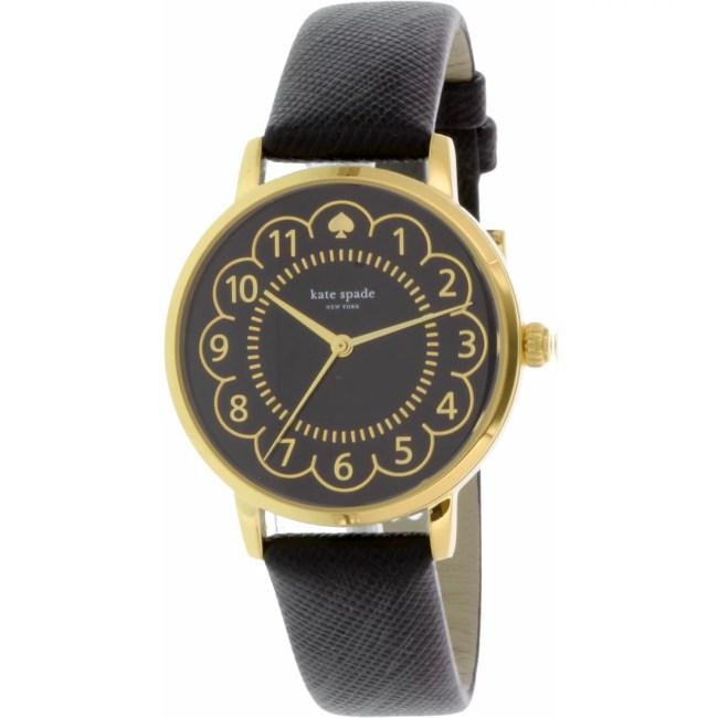 Kate Spade Women's Metro 1YRU0790 Black Leather Quartz Fashion Watch