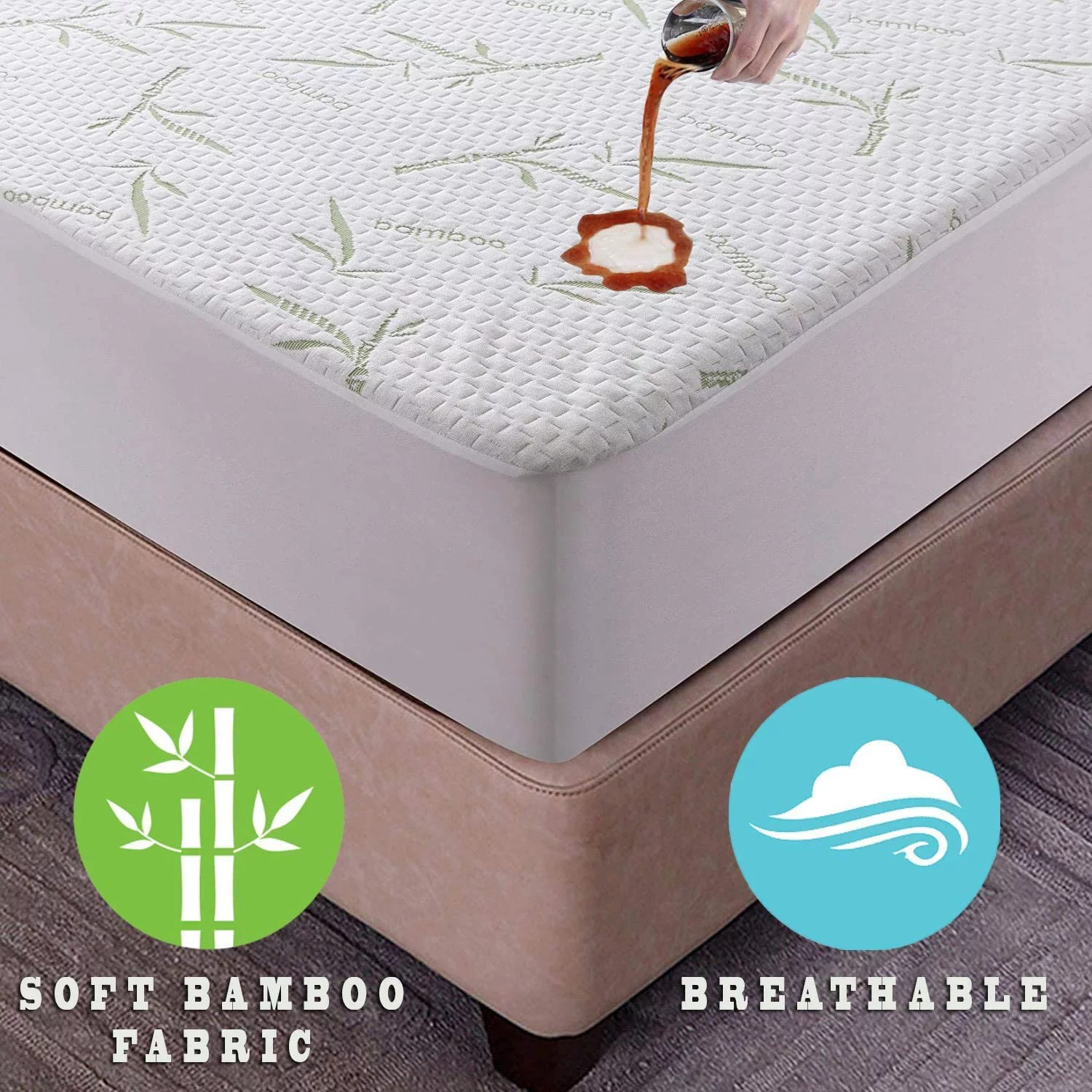 bamboo mattress protector queen size breathable waterproof mattress cover hypoallergenic fitted cover with cooling fabric pillow top mattress