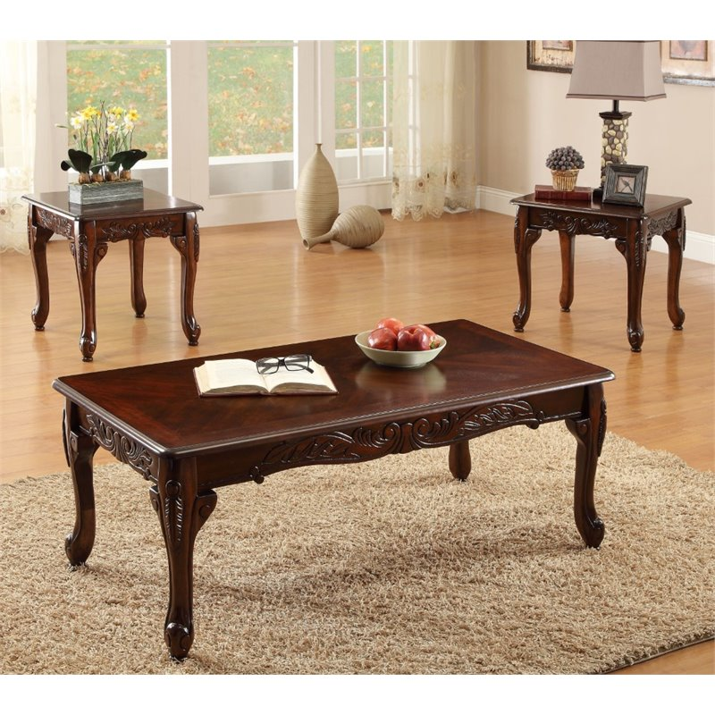 furniture of america alice 3 piece wood coffee table set in dark cherry walmart com