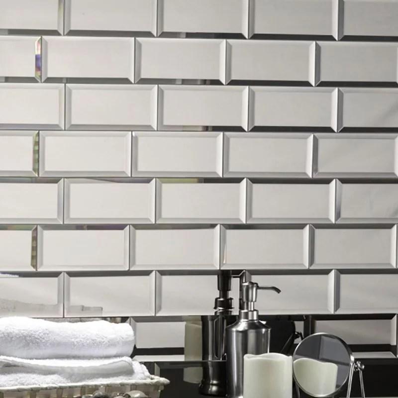 abolos reflections 3 x 6 silver mirror peel and stick glass subway backsplash wall tile 14 square feet walmart com