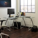 Modern Glass And Metal Rounded Frame L Shaped Corner Computer Desk By Manor Park Walmart Com Walmart Com
