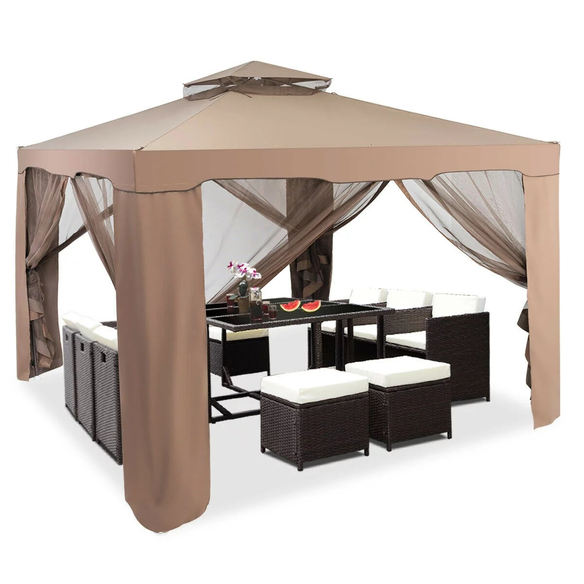 gymax 10 x 10 canopy gazebo tent shelter w mosquito netting outdoor patio