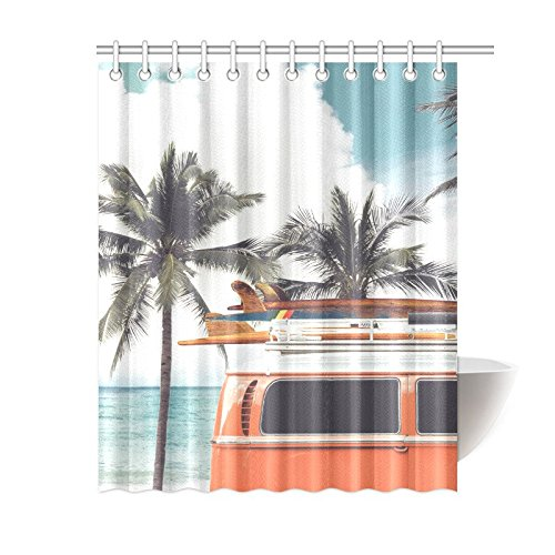 bpbop tropical beach shower curtain vintage car palm tree polyester fabric shower curtain bathroom sets 60x72 inches