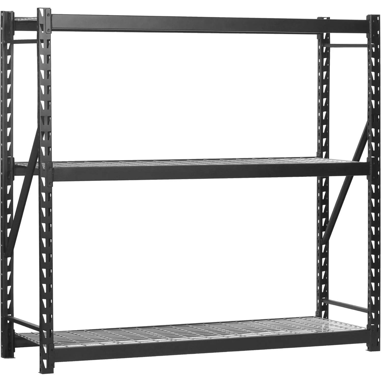 Edsal 77″W x 24″D x 72″H Steel Welded Storage Rack, Black