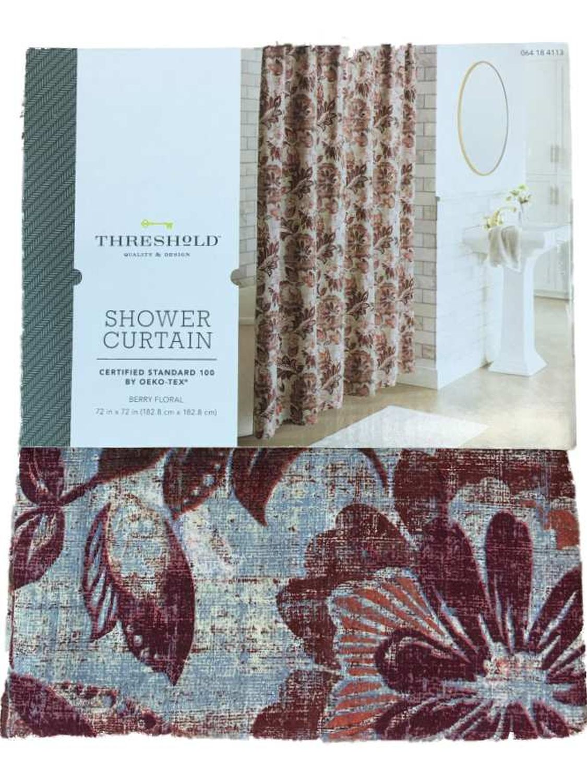 threshold wine berry floral fabric shower curtain cotton bath decor