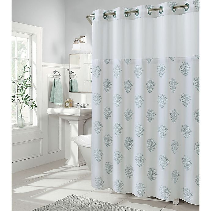 hookless coral reef 71 inch x 74 inch shower curtain in grey mist