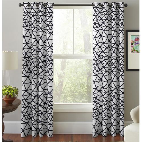 pointehaven bridge geometric semi sheer grommet curtain panel set of 2