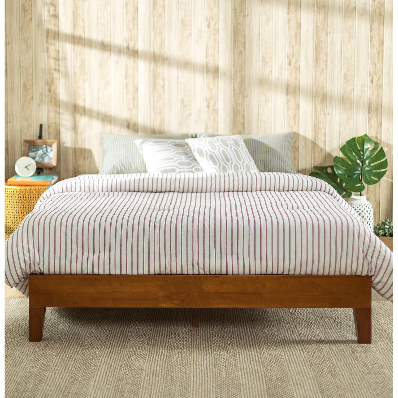 zinus wen deluxe solid acacia wood platform bed cherry finish twin