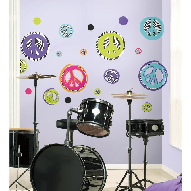 Personalized Custom Name Zebra Stripe Peace Sign Wall Art Decals Living Room Pictures Bedroom Stickers