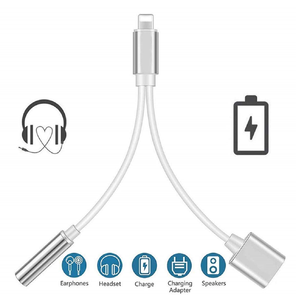 Headphone Adapter For Iphone 3 5mm Jack Headset Charge