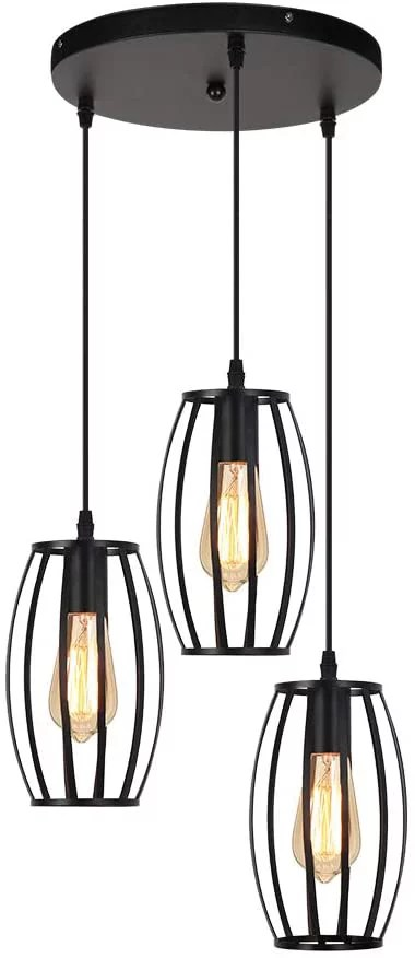 fixtures 3 lights foyer light fixtures with black metal cage lampshade adjustable length 47 ceiling lamps for living room dining room