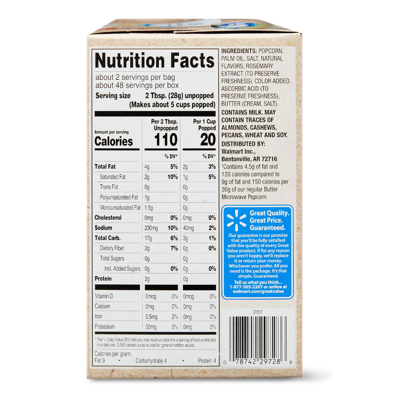 34 microwave popcorn nutrition label
