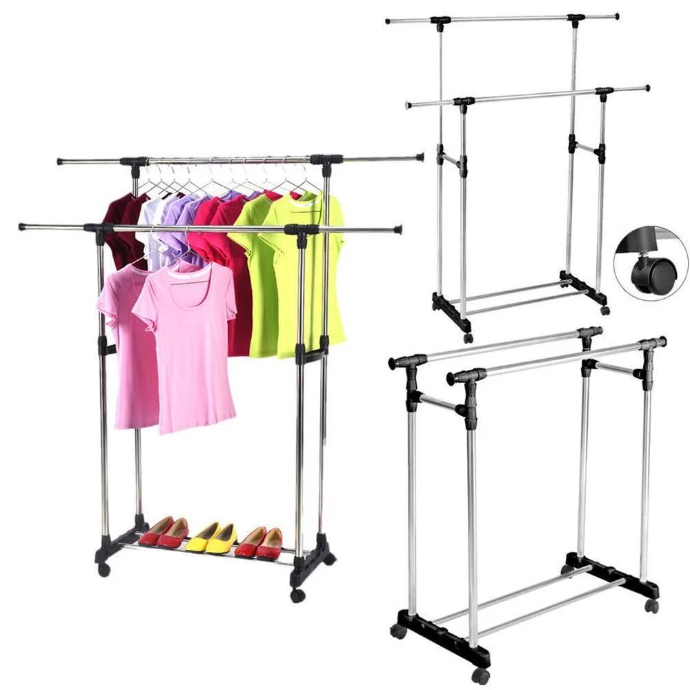 zimtown heavy duty double adjustable portable clothes hanger rolling garment rack rail walmart com