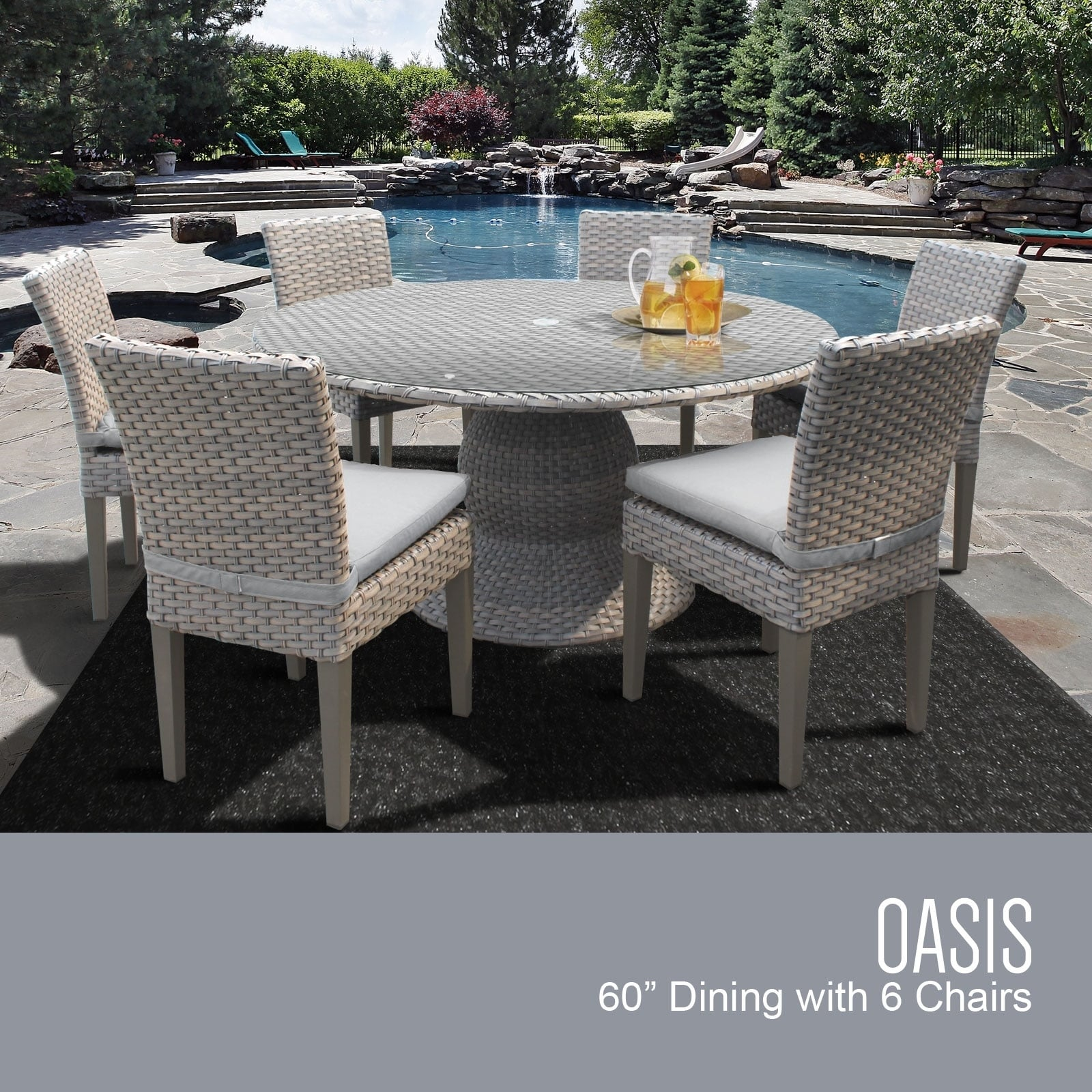 oasis 60 round glass top patio dining table with 6 chairs in wheat