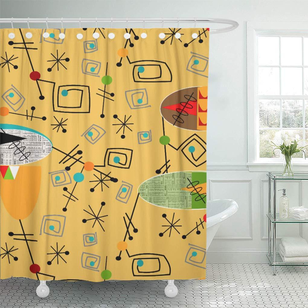 yusdecor vintage mid century modern ovals pattern inspired retro boomerangs bathroom decor bath shower curtain 66x72 inch