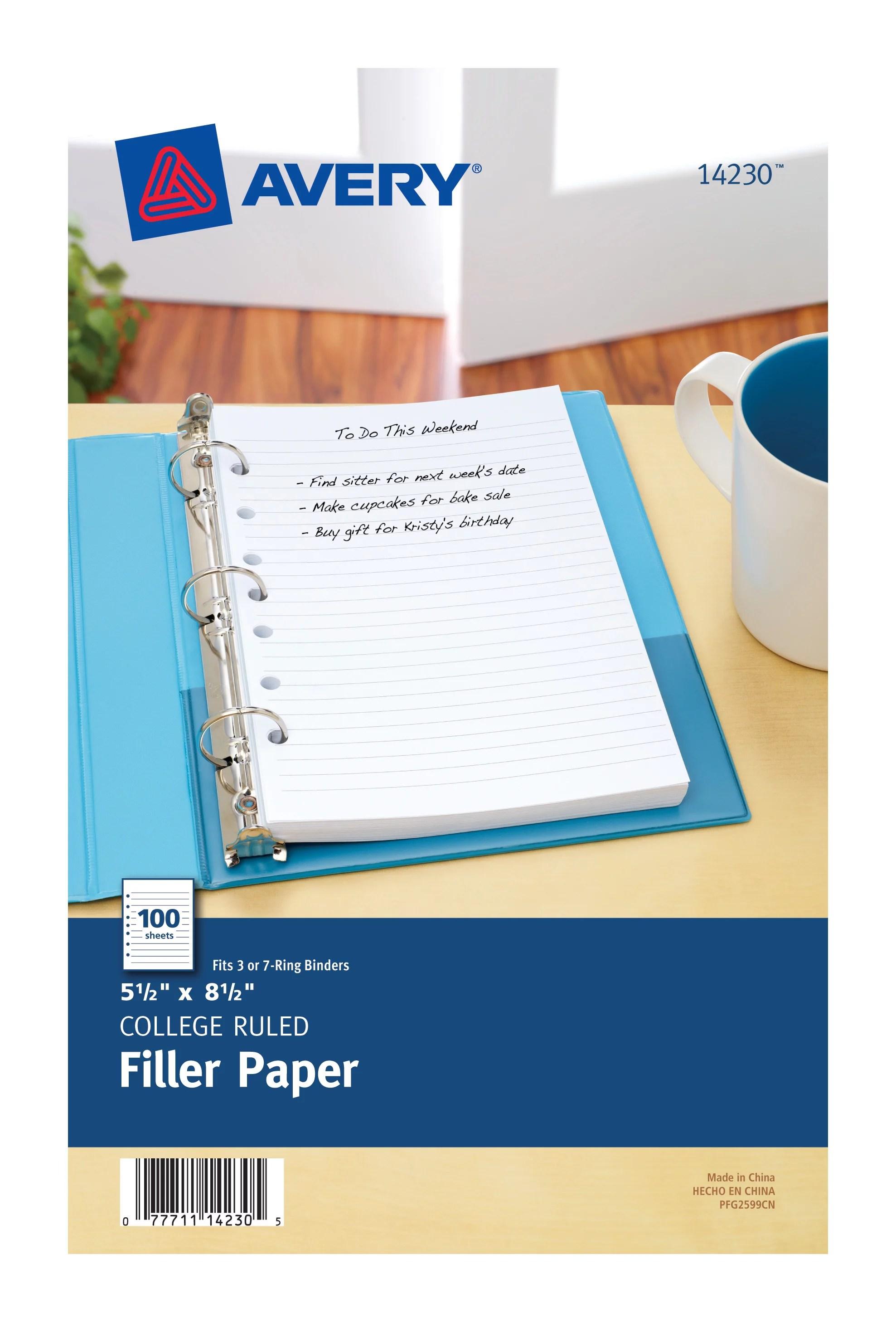 avery 5 1 2 x 8 1 2 mini binder filler paper fits 3 ring 7 ring binders 100 pack