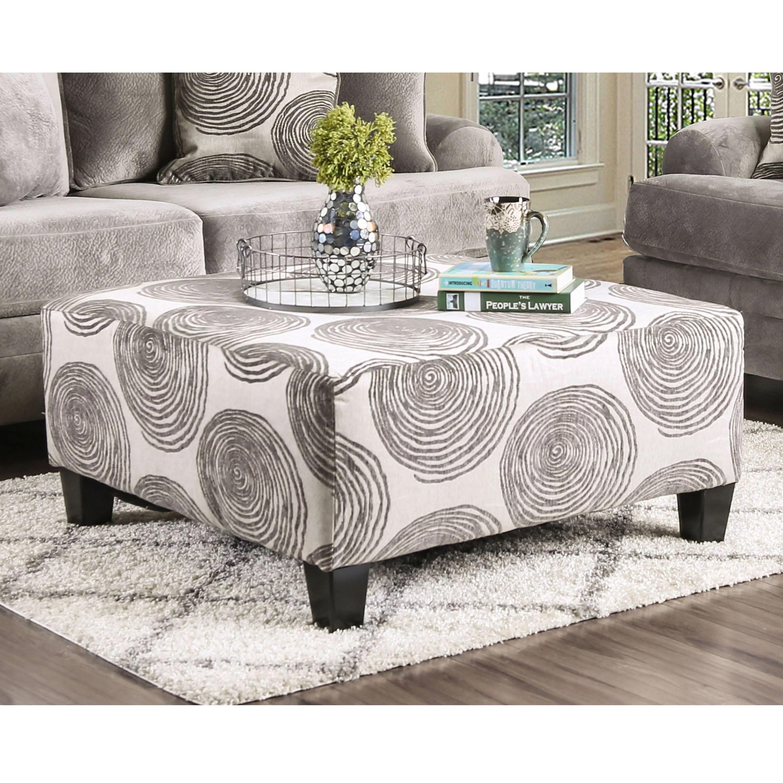 furniture of america patterned transitional fabric hendricks ottoman gray walmart com