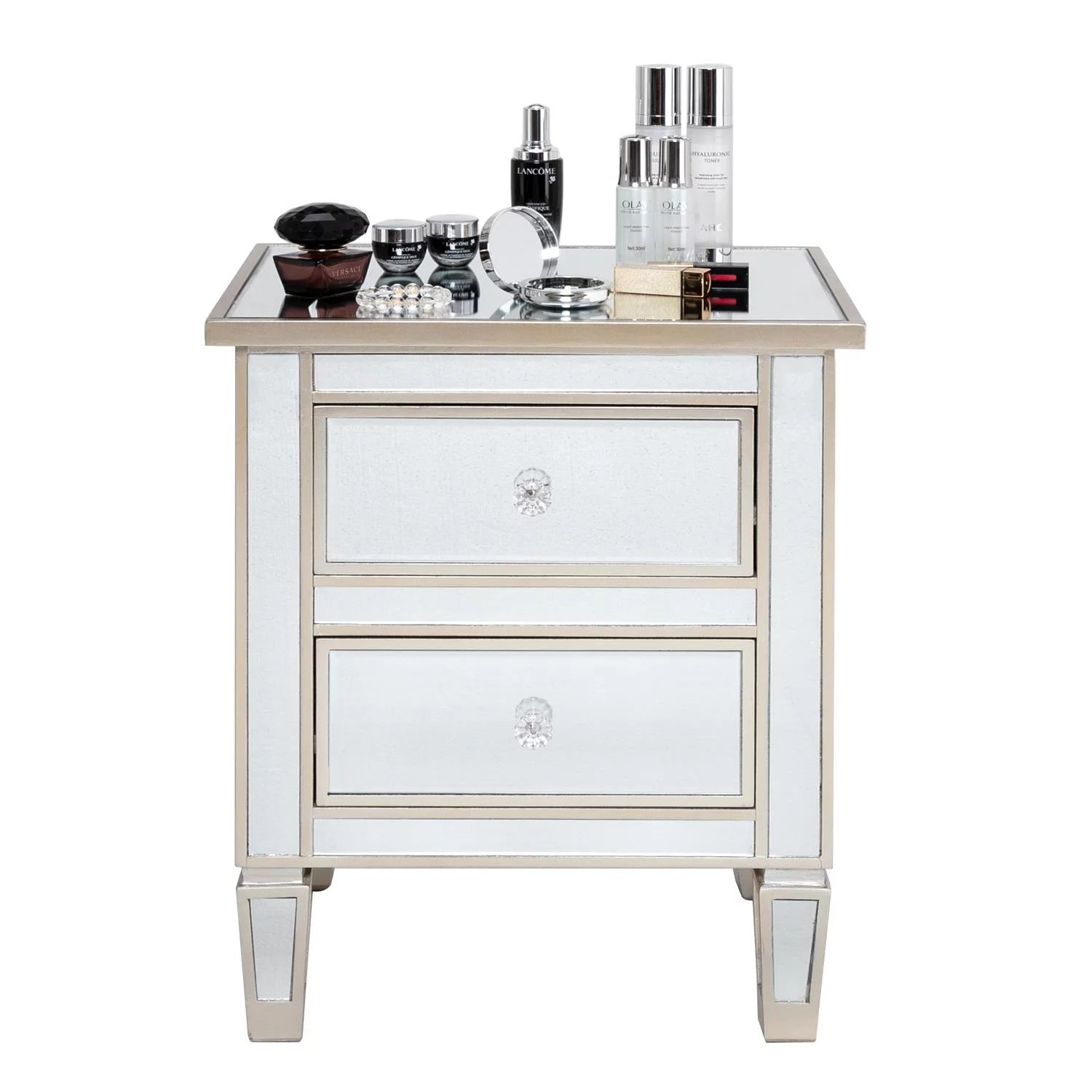 zimtown mirrored nightstand 2 drawer modern mirror end table bedside table for bedroom living room silver rose walmart com
