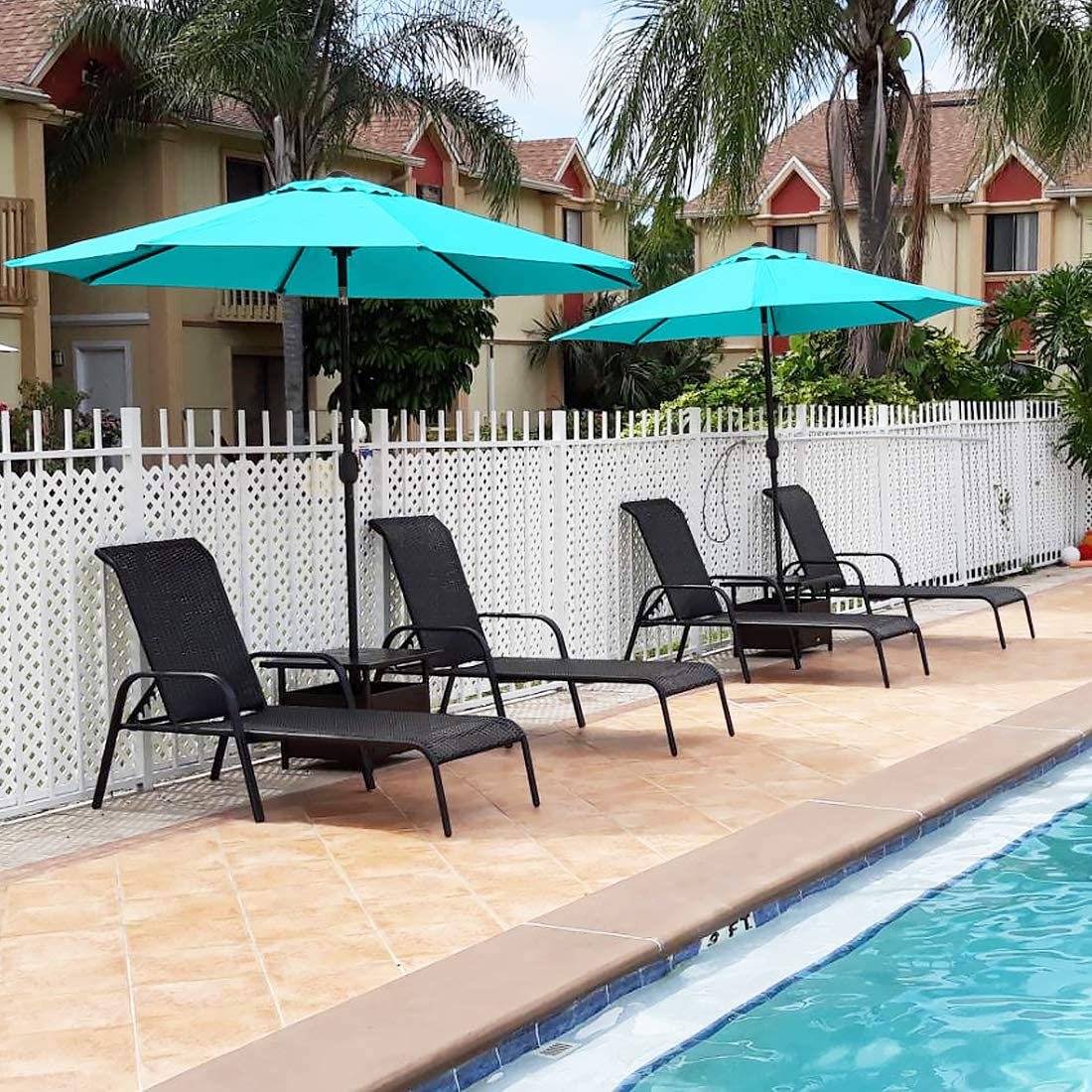 quictent 9ft turquoise patio umbrella 3 years non fading outdoor garden table canopy market umbrella pool backyard with ventilation top 8 ribs 240g