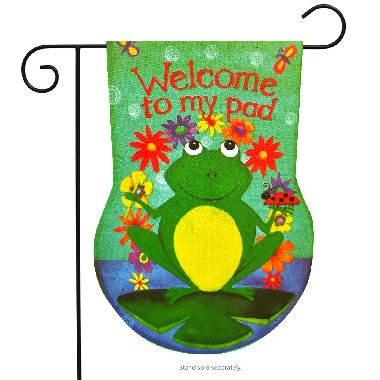 Welcome To My Pad Sculpted Summer Garden Flag Frog Lily