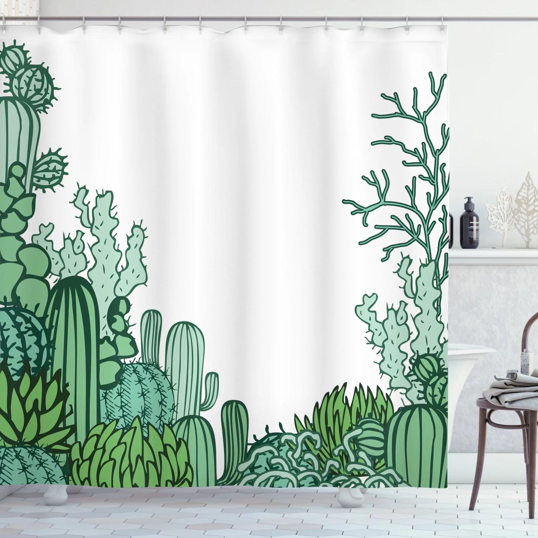 cactus shower curtain arizona desert themed doodle cactus staghorn buckhorn ocotillo plants fabric bathroom set with hooks green pale green