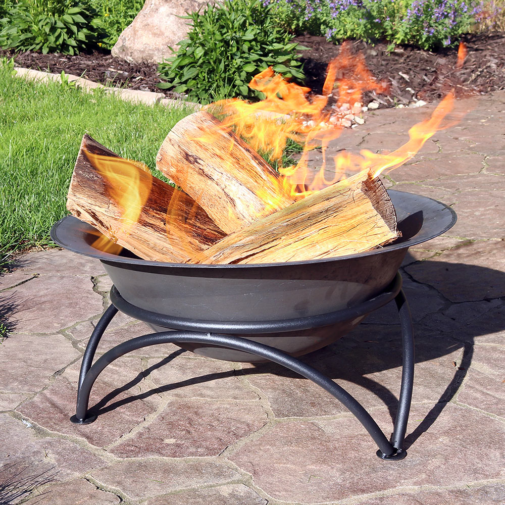 sunnydaze small outdoor fire pit bowl sturdy stand wood burning cast iron fireplace for patio and camping use dark gray 24 inch