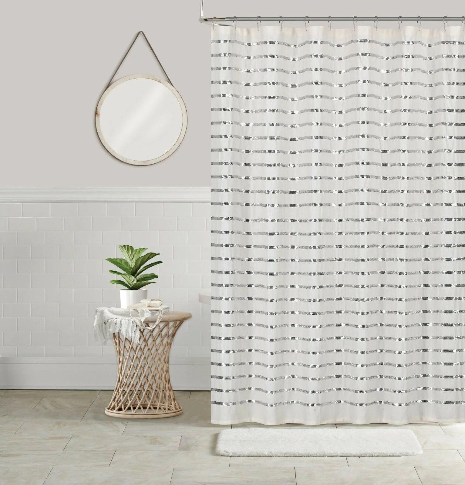 sequin shower curtain shining stripe holiday bathroom decor coco 70x70 white silver walmart com