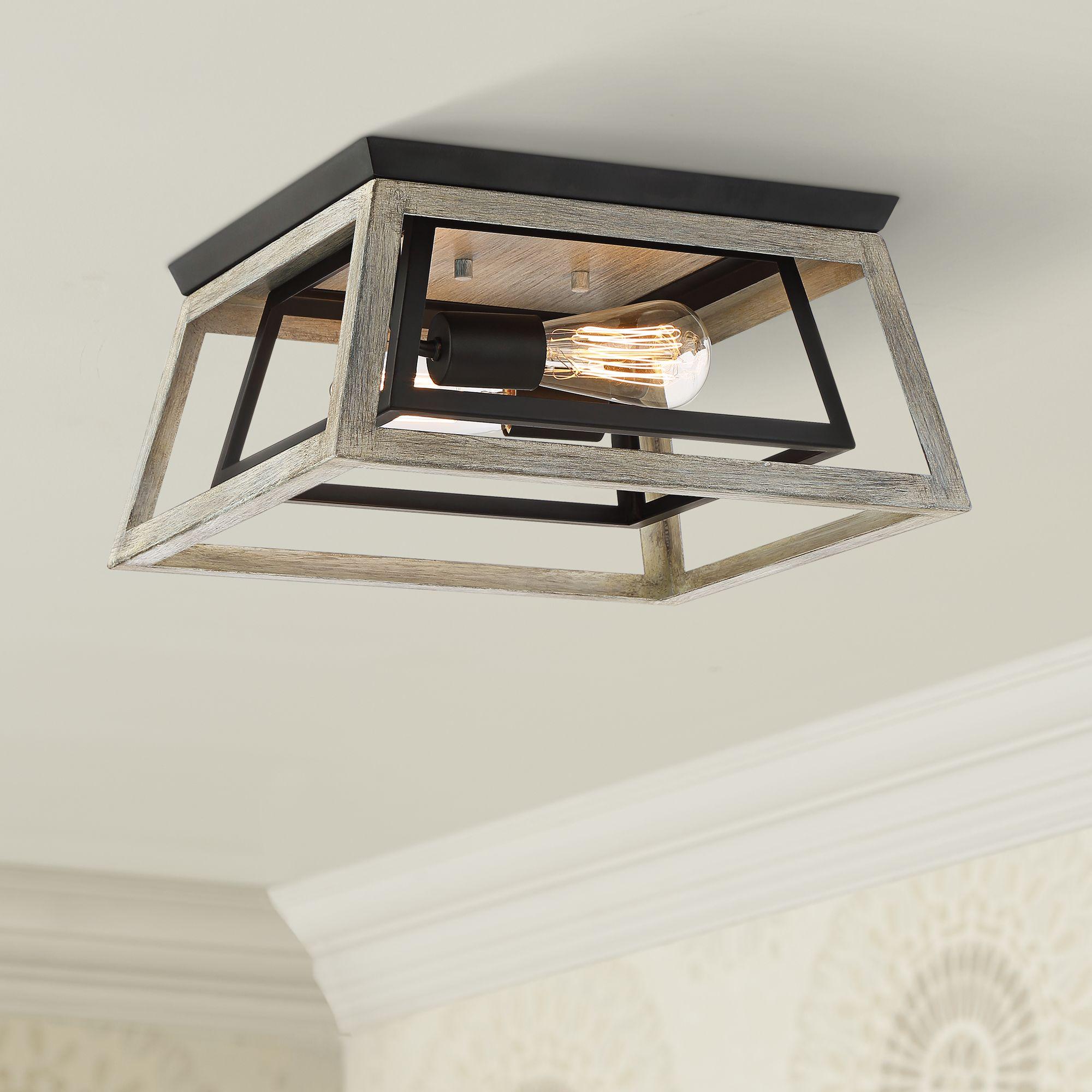 possini euro design farmhouse ceiling light flush mount fixture whitewashed wood black 14 wide open box bedroom kitchen hallway walmart com