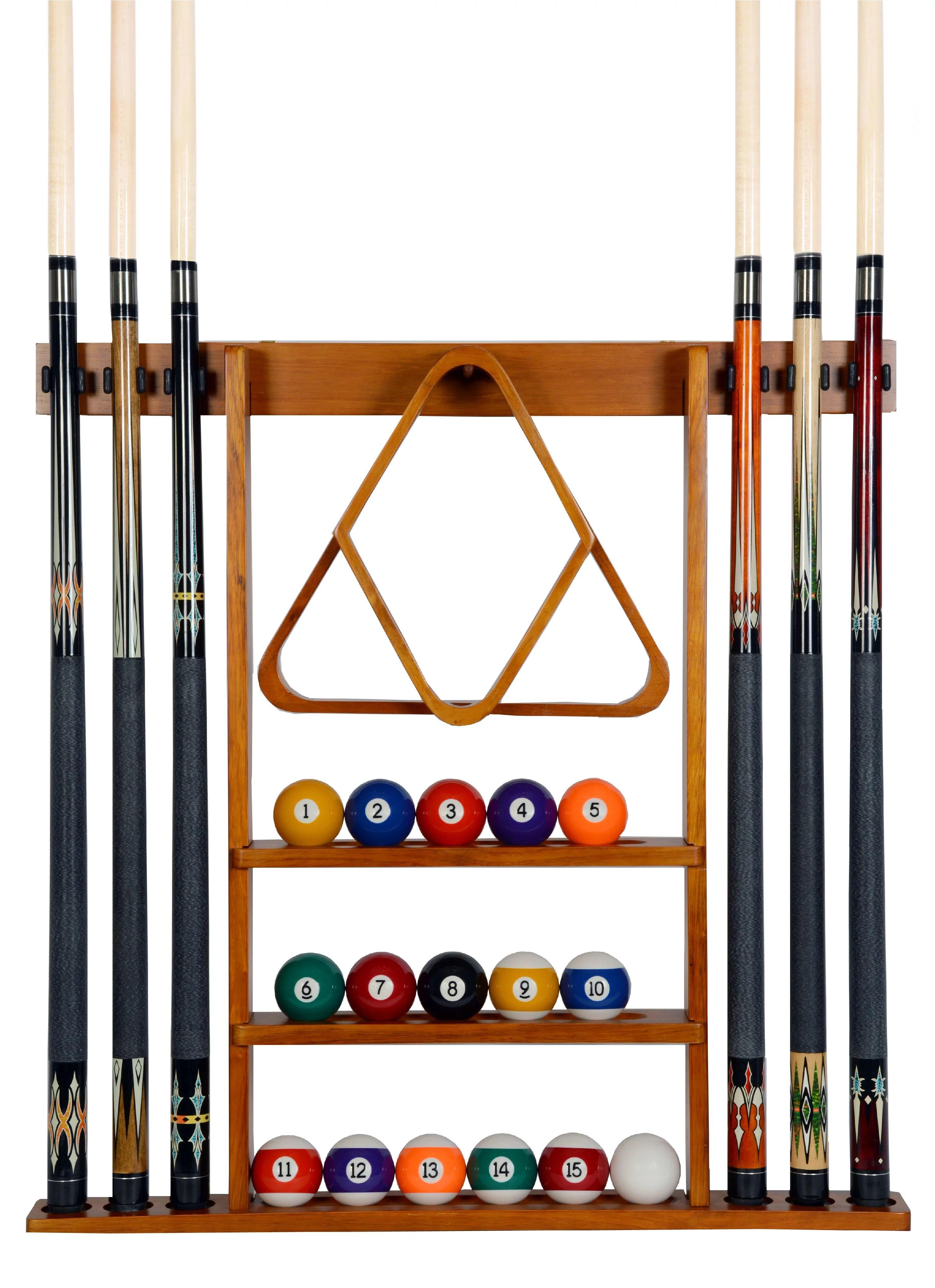 pool cue rack only 6 billiard stick ball set holder oak finish wall mount walmart com