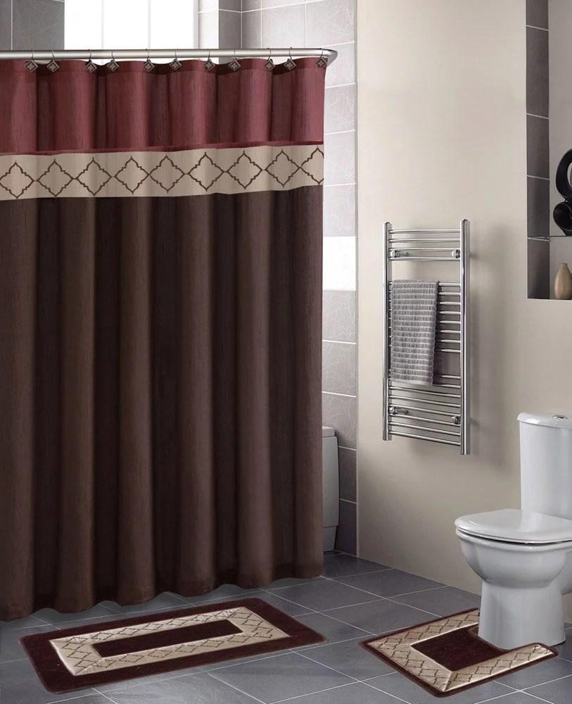 dynasty burgundy diamond 15 piece bathroom accessory set 2 bath mats shower curtain 12 fabric covered rings walmart com