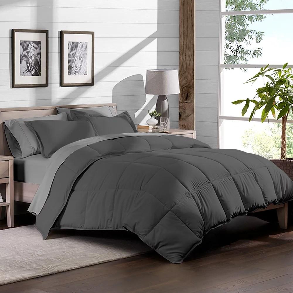 7 piece bed in a bag full xl comforter set grey sheet set light grey