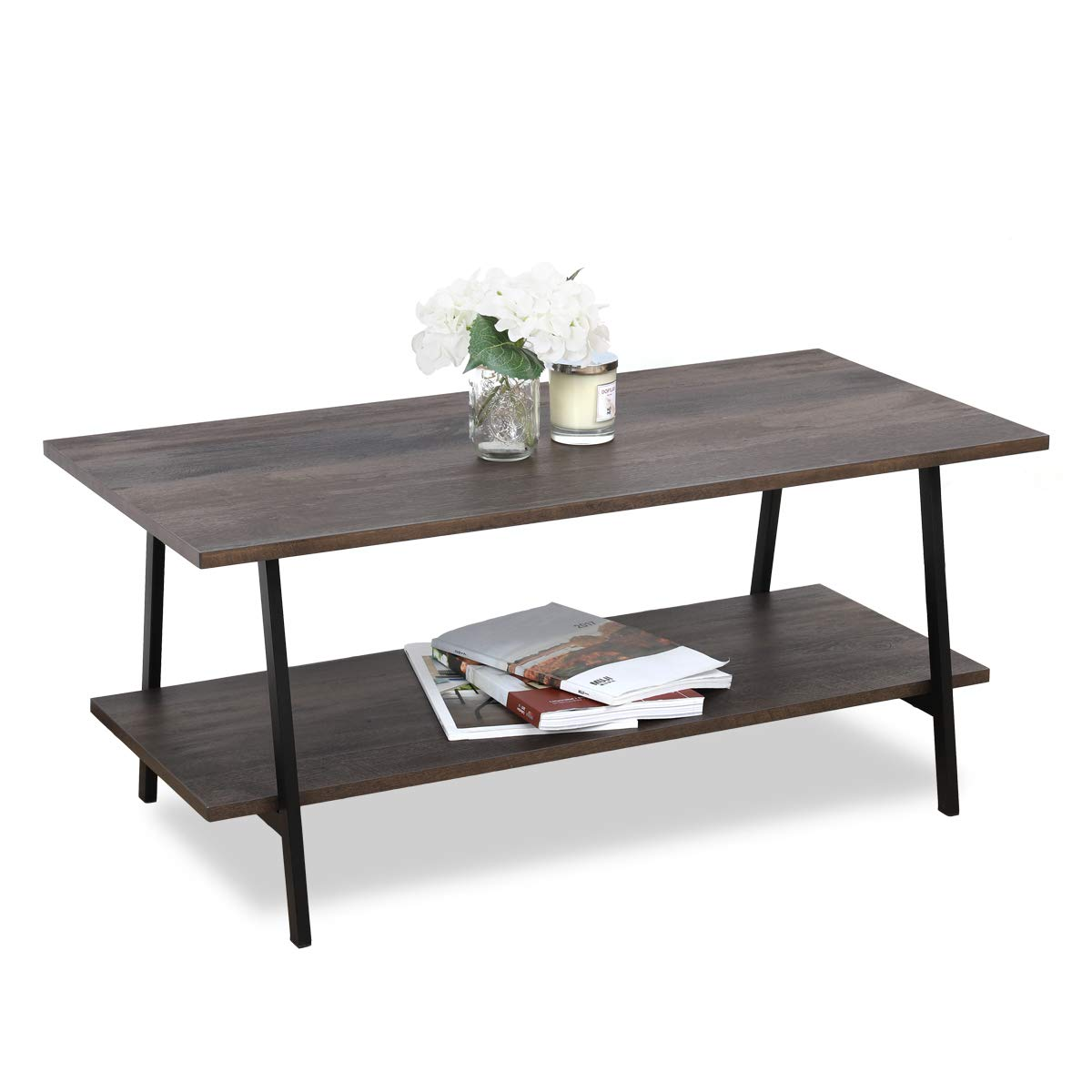 sekey home coffee table 2 tier cocktail table with storage shelf for living room wood look accent furniture with metal frame easy assembly