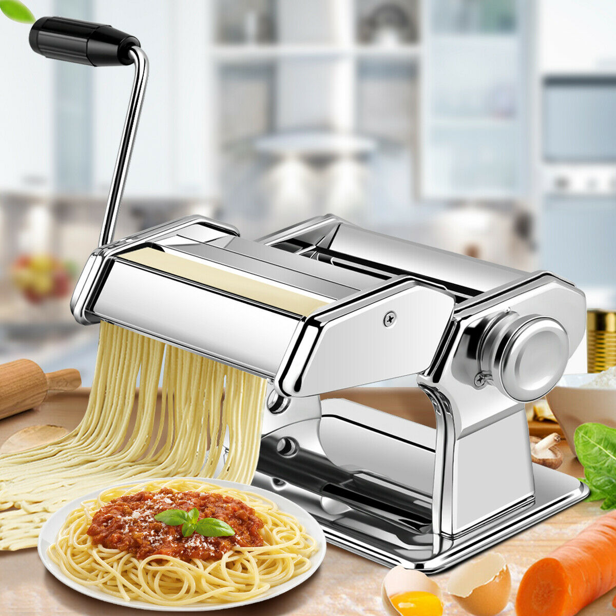 costway 5 in 1 stainless steel pasta lasagna spaghetti tagliatelle ravioli maker machine walmart com
